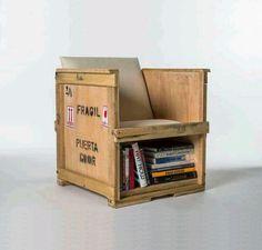 shipping crate chair / shelf combo http://sunnydaypublishing.com/books/