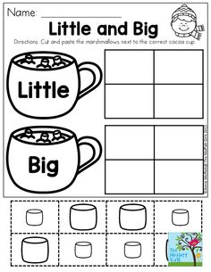 Little and Big- Great for comparing sizes and identifying pre-primer sight words. Great beginning steps for helping children become fluent as early as preschool!
