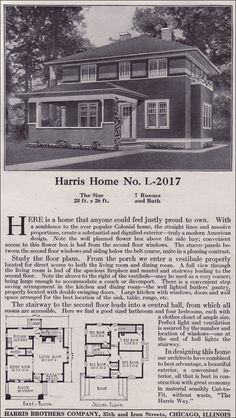Plan L-2017 - 1918 Harris Bros. Co. - Prairie Box Foursquare