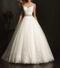Ball Gown Wedding Dresses : White/ivorylace wedding dress Aline beaded bridal by Swarovski169 $179.00 #alineweddingdresses