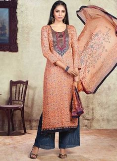 6dce2e18a0 Orange Grey Embroidery Work Print Cotton Satin Designer Pakistani Palazzo  Suit. Buy online shopping salwar kameez at - Hyderabad.