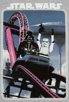 This Roller Coaster Star Wars Shirt features Vader and a Stormtrooper in the front car of a roller coaster. Ver Star Wars, Star Wars Bb8, Star Trek, Stormtrooper, Darth Vader, Vacation Pictures, Star Wars Humor, Love Stars, My Guy