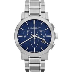 02fad17ec Burberry Chronograph Blue Dial Stainless Steel Mens Watch Stainless steel  case with a stainless steel bracelet. Fixed stainless steel bezel.