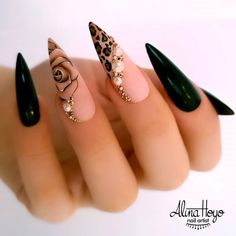 20 Stiletto Nail Art Design Ideas For Prom In 2020 Spring and Summer - We collected 30 stiletto nail art designs for you when you attend a party. The nails included unique - Black Stiletto Nails, Edgy Nails, Grunge Nails, Stylish Nails, Cute Nails, Pretty Nails, Nail Black, Pointed Nails, Fancy Nails