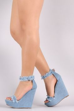 Breckelle Frayed Denim Ankle Strap Platform Wedge