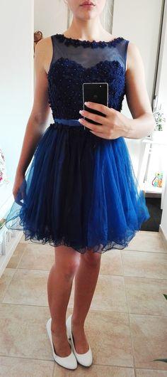 Plesové šaty- koktejlky modré s květinkovým živůtkem