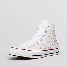 Studded white hightop converse