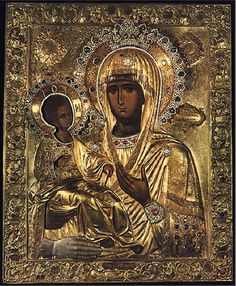 """""""Three-handed Theotokos"""" or simply """"Tricherousa"""" is a famous wonderworking icon in the Serb Orthodox monastery of Hilandar on Mount Athos, Greece. On the back of the icon is the painting of St Nicholas. Religious Icons, Religious Art, Holy Art, La Madone, Religion, Black Jesus, Russian Icons, Byzantine Icons, Madonna And Child"""