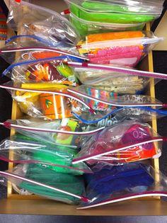 Organizing with ziptop bags | OrganizingMadeFun.com (Love this flip-through organization in a drawer!)