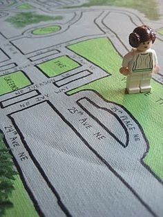 Neighborhood map floorcloth.  Fun for little ones & cute decor in a playroom