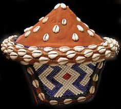 African Pende hat made from woven raffia and plant fibres and decorated with cowrie shells and beads from the Democratic Republic of Congo (via Ethnix Tribal and African Arts) Beadwork, Beading, African Hats, Eritrean, Plant Fibres, African Jewelry, Shell Art, Creative People, Hat Making