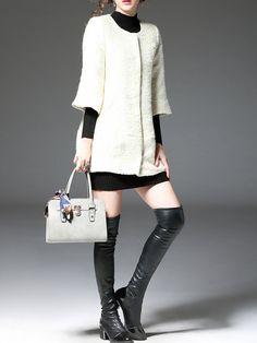 Beige Jacquard 3/4 Sleeve Plain Coat - StyleWe.com