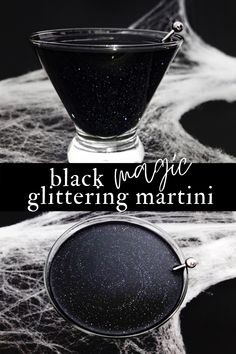 This black and shimmering cocktail is a lime daiquiri meets martini made with edible luster dust for a cocktail that is black & glittery. Halloween Cocktails, Alcholic Halloween Drinks, Alcholic Drinks, Halloween Food For Party, Holiday Drinks, Vodka Martini, Vodka Cocktails, Cocktail Drinks, Summer Cocktails