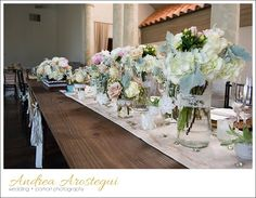 Salvage Snob Farmhouse tables and rustic arrangements - Coral Gables Country Club