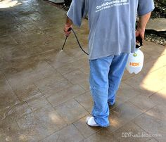 How to install beautiful stamped concrete tiles for the look of stamped concrete for a fraction of the cost! Diy Stamped Concrete, Concrete Tiles, Stained Concrete, Outdoor Gardens, Covered Patios, Bougainvillea, Decking, Mens Tops, Fun Ideas