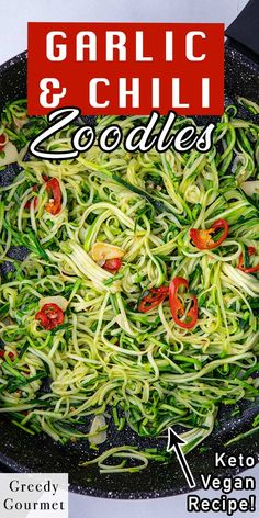 Looking for a healthy alternative to pasta and noodles? This Garlic & Chili Courgetti is a perfect choice for you. This is an easy and super quick recipe that takes just minutes to make. The ingredients are courgettes, olive oil, garlic, red chili, salt and pepper. Make this healthy and tasty recipe with your family! #courgette #courgetterecipe #pasta #healthypasta #healthynoodles #noodles #tastyrecipe #healthyrecipe #healthy #vegan #vegetarian #quickrecipes #easyrecipes Healthy Pastas, Healthy Desserts, Healthy Recipes, Quick Recipes, Gourmet Recipes, Tasty, Yummy Food, Red Chili, English Food