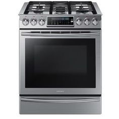 Samsung 5-Burner 5.8-cu ft Self-Cleaning Slide-In Convection Gas Range (Stainless Steel) (Common: 30-in; Actual 29.812-in)