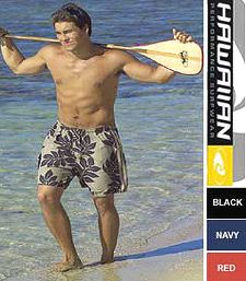 Hawaiian Performance Surfwear® fast drying, micro-fiber, popular sports shorts are also available in pareo print designs