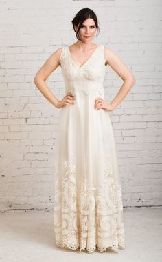 rustic wedding dress boho wedding dress by MartinMcCreaCouture