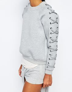 Image 3 of Story Of Lola Oversized Sweatshirt In Neoprene With Lace Up Detail