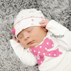 Girl newborn outfit. Girl onesie & rosette by LovelyLittleBabies, $17.00