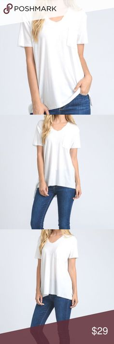 "Basic White Pocket Tee Women's Boutique Tops White, soft basic pocket tee - Tencel Fabric: made from regenerated trees, similar to bambooSlightly see through and this top is on the thinner side. I've already worn mine and love it! Sizes M and L available. Measurements: BUST: M/39""-L/42"" LENGTH: M/31.5""-L/31.5"". Bundle 2+ items for discount! Tops Tees - Short Sleeve"