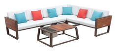 York outdoor sectional.  Features wood built in tables that flip up when you need them and down when you don't.  Made by Hygold Outdoor Furniture Sets, Outdoor Decor, Outdoor Sectional, Outdoor Living, Tables, Lounge, Patio, Deep, York