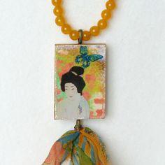 Collier Pendentif Perles, Style Japonais, Collier Jade, Illustration Geisha, Pendentif Rectangle : Collier par bleuluciole