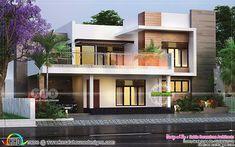 3 bedroom 2650 square feet modern flat roof house (Kerala home design) Modern Bungalow Exterior, Modern Bungalow House, Modern Exterior House Designs, Modern Architecture House, Modern House Design, Flat Roof House Designs, Exterior Design, Bungalow House Design, House Front Design