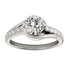 Transcendent Brilliance 14K Gold 1 1/4ct TDW Diamond Curved Engagement Ring (VS1-VS2, F-G) (White - Size 8.5), Women's, Rose
