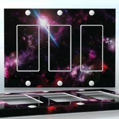 DIY Do It Yourself Home Decor - Easy to apply wall plate wraps | Deep Space Dark  Flashing stars in space, beautiful universe picture  wallplate skin sticker for 3 Gang Decora LightSwitch | On SALE now only $5.95