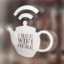 x1 Free Wifi Here Window Sticker, Tea Shop, Hotel, Bar, Cafe, Restaurant, Teapot