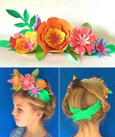 Wear this paper flower crown for Cinco de Mayo! How to make a paper flower party crown for your costume! Crazy Hat Day, Crazy Hats, Diy Arts And Crafts, Easy Crafts, Easy Diy, Flower Costume, Costume Dress, Art For Kids, Crafts For Kids