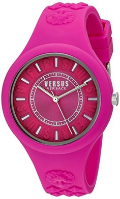 #Versus Versace - Fire Island - Silicone / Stainless Steel Womens Casual Watch - Pink - SOQ030015 - Unisex 39mm Stainless Steel Case - 3 Hand Dial - Silicone Str...