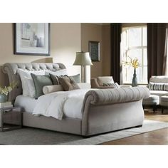 Windville Queen Upholstered Sleigh Bed New House Upholstered Bed. Shimmer Upholstered Sleigh Bed Queen Size Beds By Caracole. Bedroom Gorgeous Sleigh Bed Queen For Best Bedroom Furniture Idea. Upholstered Sleigh Bed Queen Stribal Com Design Interior Ho Bedding Master Bedroom, Home Bedroom, Master Bedrooms, Master Suite, Contemporary Bedroom, Contemporary Design, Bedroom Furniture, Home Furniture, Modern Bedrooms
