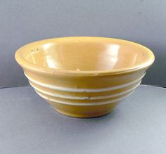 Antique Yelloware Bowl With 3 White Stripes by jujubeezcloset, $15.00