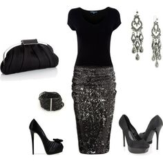 Black sparkle outfit idea.