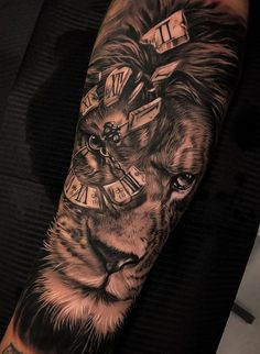 50 Eye-Catching Lion Tattoos That'll Make You Want To Get Inked jaw-dropping black & gray lion tattoo © tattoo artist Dario Castillo 💕💕💕💕💕💕 Hand Tattoos, Lion Forearm Tattoos, Lion Head Tattoos, Mens Lion Tattoo, Forarm Tattoos, Leo Tattoos, Watch Tattoos, Best Sleeve Tattoos, Tattoo Sleeve Designs