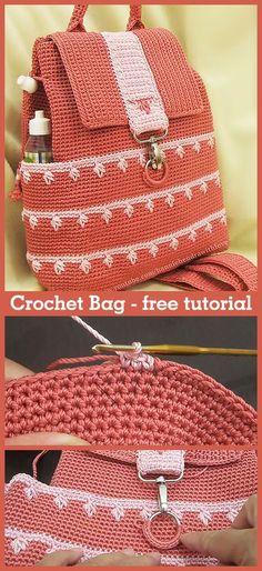 Bag / Backpack / Rucksack – Crochet Bag / Backpack / Rucksack – Crochet,Handarbeiten- Basteln – Kreatives Learn how to crochet this bag with video tutorial. Love Crochet, Learn To Crochet, Crochet Gifts, Crochet Handbags, Crochet Purses, Crochet Bags, Crochet Diaper Bag, Crochet Bag Tutorials, Crochet Patterns
