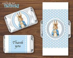 Peter Rabbit Mini Candy Bar Labels, Blue and Gray Small Chocolate Bar Wrappers, INSTANT DOWNLOAD, digital printable file