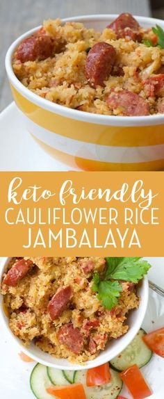 Cauliflower Rice Jambalaya This Keto Cauliflower Rice Jambalaya Comes Together In One Large Pot And Is About The Calories Of The Rice Version! It's An Easy Smoked Sausage Recipe That You'll Be Happy You Saved For Later! We Have Been Making This Almost Ketogenic Recipes, Diet Recipes, Cooking Recipes, Healthy Recipes, Cooking Time, Recipes Dinner, Easy Recipes, Cauliflower Recipes, Ketogenic Diet