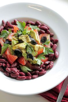Kidney beans, Tomatoes and Avocado salad