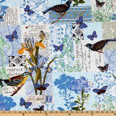 Michael Miller French Journal Collection Bleu Paris Blue, Designed by London Portfolio for Michael Miller Fabrics
