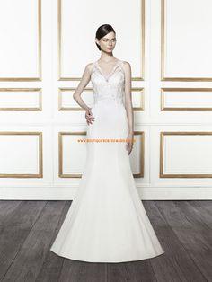 Robe de mariée sirène satin col V application boutons