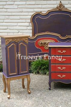 "Custom Painted Vintage Bedroom Set ""Moulin Rouge"" - MADE TO ORDER. $3,030.00, via Etsy."