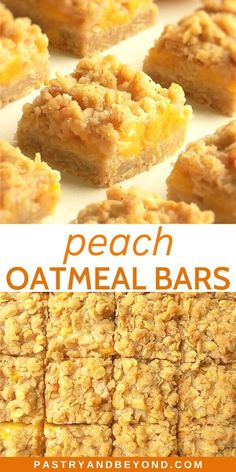 Peach Crumble Bars-These peach bars are crunchy, soft and slightly chewy. You'll need the same dough for the crust and the topping to make these delicious peach oatmeal bars. Köstliche Desserts, Delicious Desserts, Dessert Recipes, Baking Recipes, Yummy Food, Peach Dessert Recipe, Peach Cookies Recipe, Bar Recipes, Plated Desserts