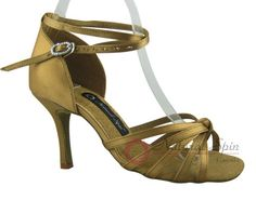 Natural Spin Signature Latin Shoes(Open Toe):  H1103-01_GoldES