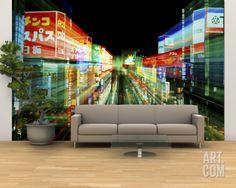 Large Wall Murals | Neon, Tokyo, Japan Wall Mural – Large by Rob Tilley at Art.com