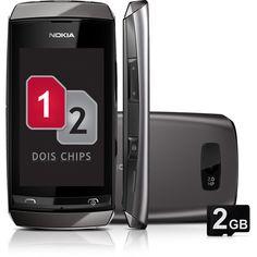 Celular Nokia Asha 305 Desbloqueado - Dual Chip Cinza Câmera 2MP cartão de Memória 2GB