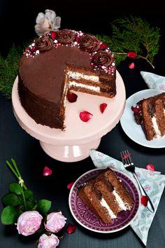csokis -vaníliás torta Cake Cookies, Chocolate Fondue, Tiramisu, A Table, Cake Recipes, Muffin, Food And Drink, Sweets, Meals